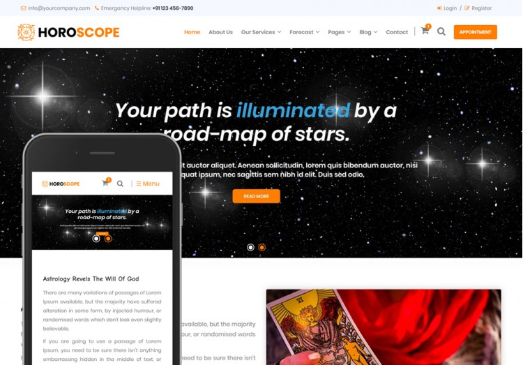 Horoscope and Astrology Bootstrap Theme